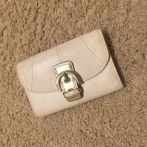 Coach authentic white leather wallet